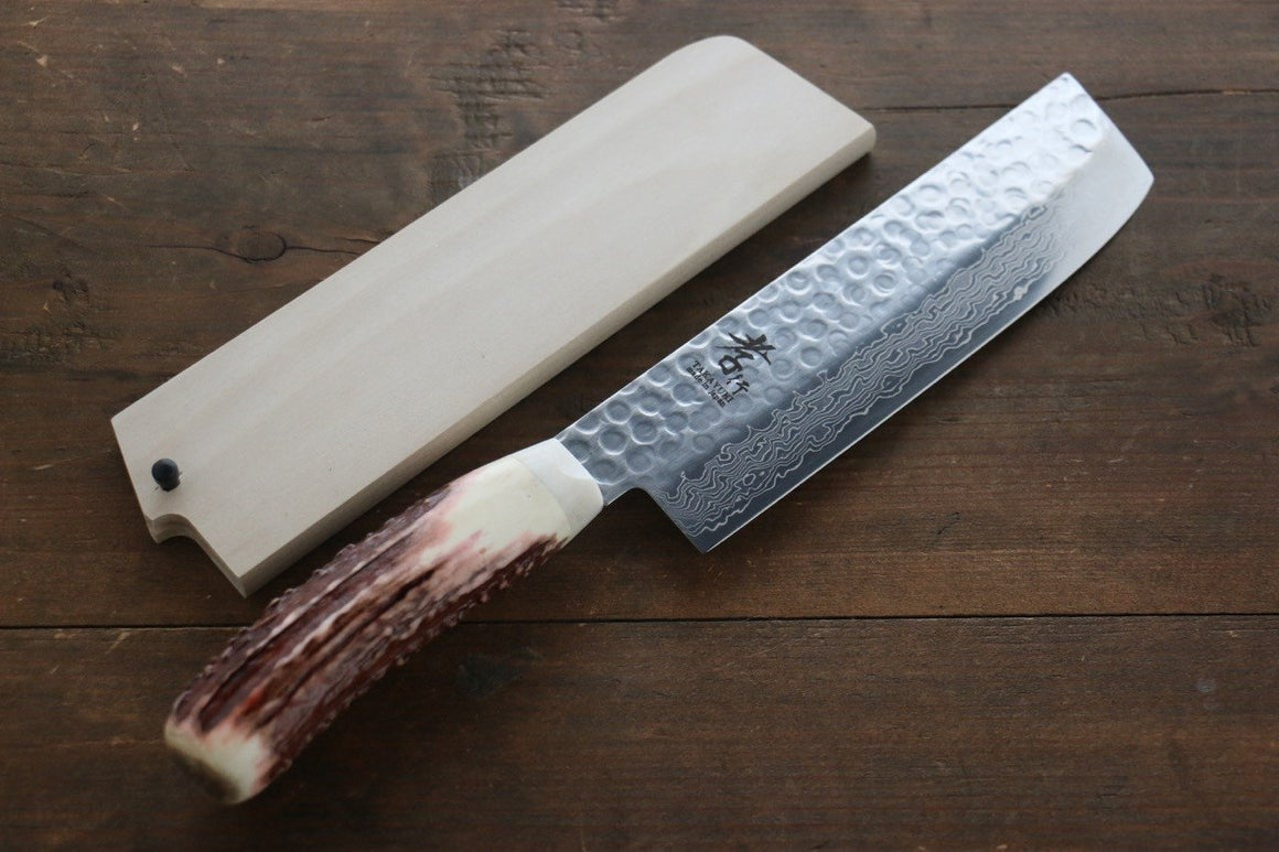 Sakai Takayuki 45 Layer Damascus Nakiri Japanese Kitchen Chef Knife with Deer Horn Handle - Japanny - Best Japanese Knife