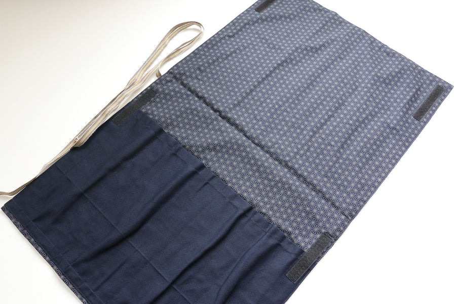 Japanese Style Knife Roll ShiroHikeshi-Ura-Konkasuri 4 Pockets - Japanny - Best Japanese Knife