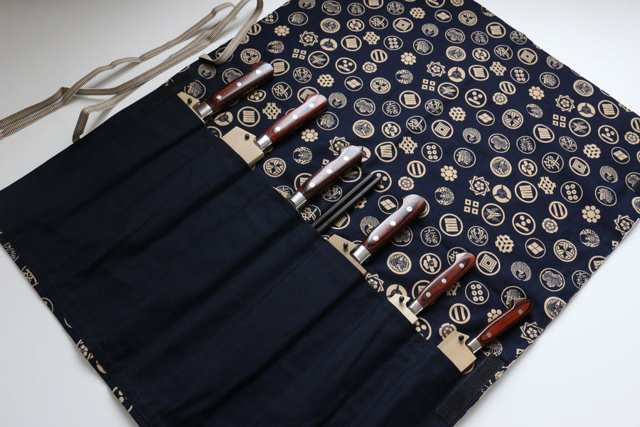 Japanese Style Knife Roll Konkamon-Ura-konkamon 7 Pockets - Japanny - Best Japanese Knife