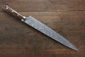 Takeshi Saji R2/SG2 Black Damascus Sujihiki Japanese Knife 270mm with Ironwood Handle - Japanny - Best Japanese Knife