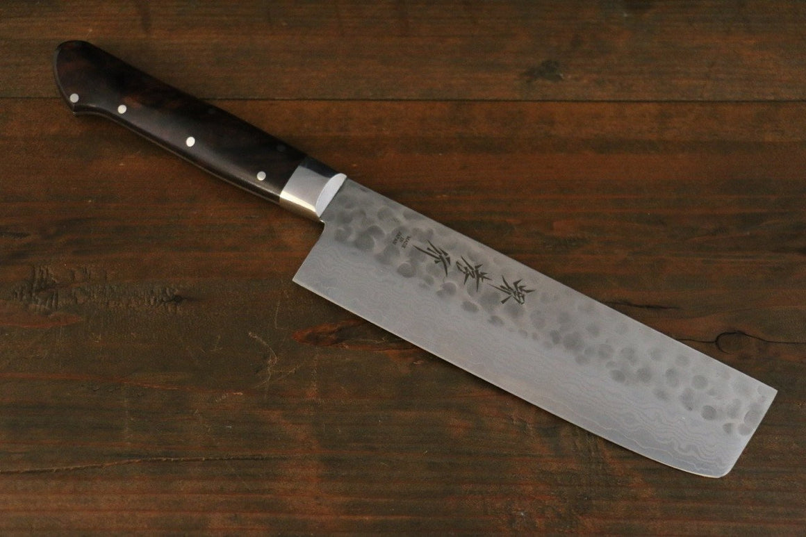 Sakai Takayuki 17 Layer Damascus VG10 Japanese Nakiri Chef Knife with Desert Iron Wood Handle 160mm - Japanny - Best Japanese Knife