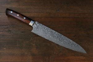 Takeshi Saji R2 Black Damascus Gyuto with Iron Wood Handle Japanese Chef Knife 210mm - Japanny - Best Japanese Knife