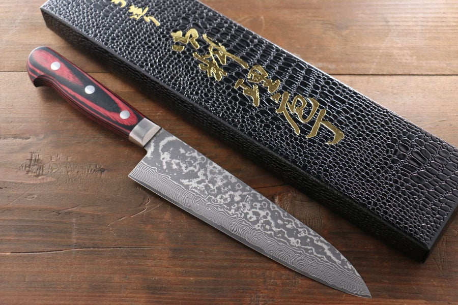 Yoshimi Kato VG10 Black Finish Damascus Japanese Gyuto & Santoku Knife Set - Japanny - Best Japanese Knife