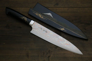 Takeshi Saji Coloured Damascus Maki-e Art Gyuto Japanese Chef Knife 210mm - Japanny - Best Japanese Knife