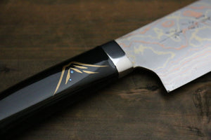 Takeshi Saji Coloured Damascus Maki-e Art Japanese Nakiri Kitchen Chef Knife 180mm - Japanny - Best Japanese Knife