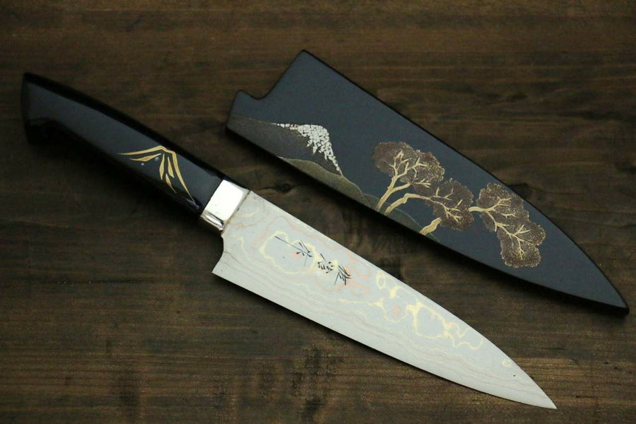 Takeshi Saji Coloured Damascus Maki-e Art Japanese Petty Utility Kitchen Chef Knife 150mm - Japanny - Best Japanese Knife