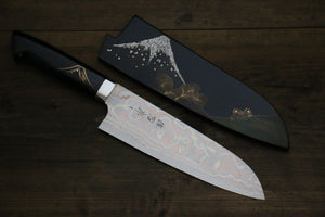 Takeshi Saji Japanese Santoku Kitchen Chef Knife with Maki-e Art 180mm - Japanny - Best Japanese Knife