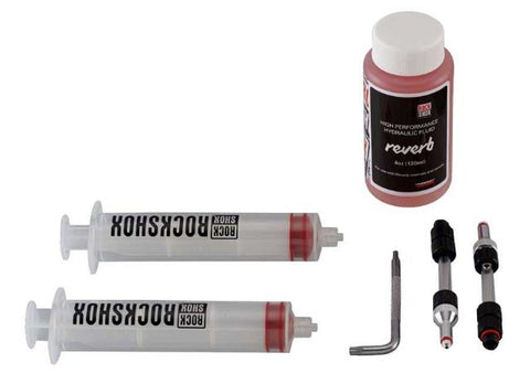 ROCKSHOX STANDARD BLEED KIT (INCLUDES 2 SYRINGES/FITTINGS REVERB HYDRAULIC FLUID 120ML BOTTLE NEW)