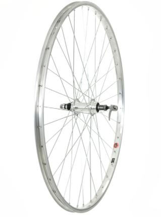 700C REAR WHEEL, ALLOY RIM AND HUB, SCREW-ON, SILVER (QR)