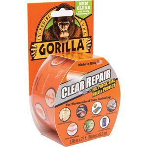 Gorilla Clear Repair Tape 8.2m x 48mm - Crystal Clear