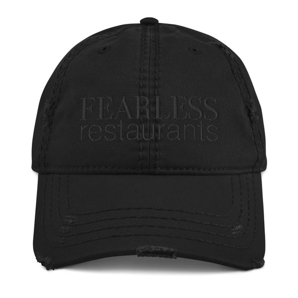 Fearless Black on Black Distressed Baseball Hat