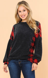 Penelope Plaid Charcoal Long Sleeve