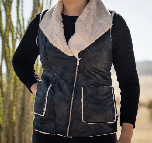 Faux Leather Faux Fur Moto Vest