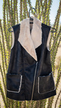 Load image into Gallery viewer, Faux Leather Faux Fur Moto Vest