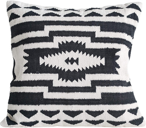 Black and Cream Cotton Kilim Pillow - Little Red Barn Door