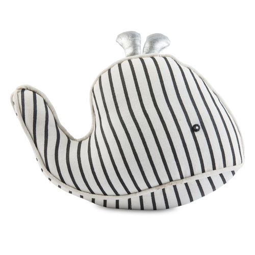 Black & White Stripes Whale Friend Pillow - Little Red Barn Door