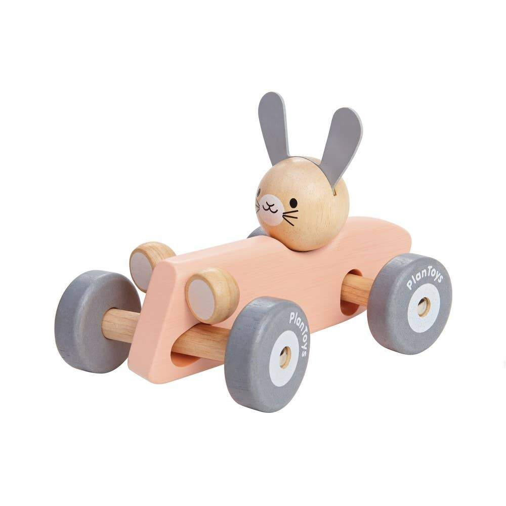 Bunny Racing Car - Pink - Little Red Barn Door