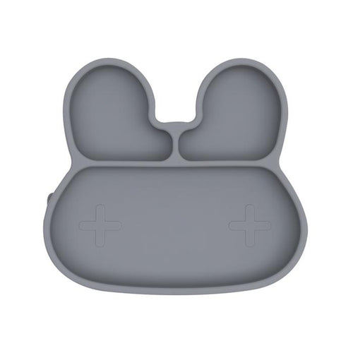 Bunny Stickie Plate - Grey - Little Red Barn Door