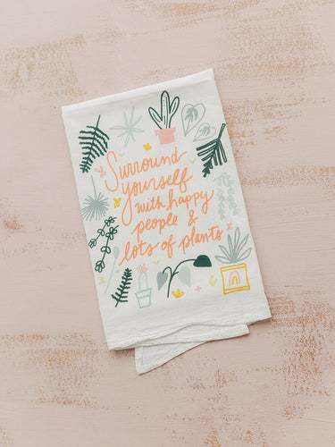 Flour Sack Towel - Happy People and Lots of Plants - Little Red Barn Door