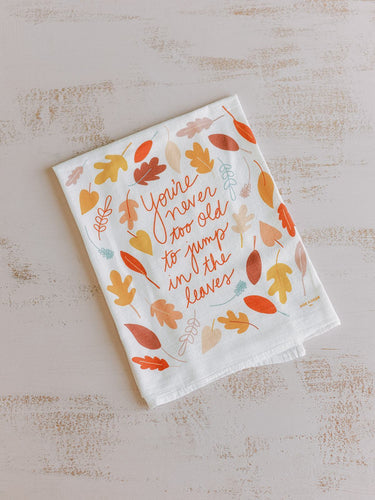 Flour Sack Towel - Jump in the Leaves - Little Red Barn Door