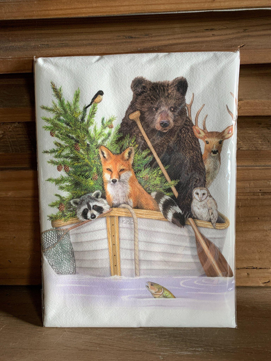 Forest Animal Boat Flour Sack Towel - Little Red Barn Door