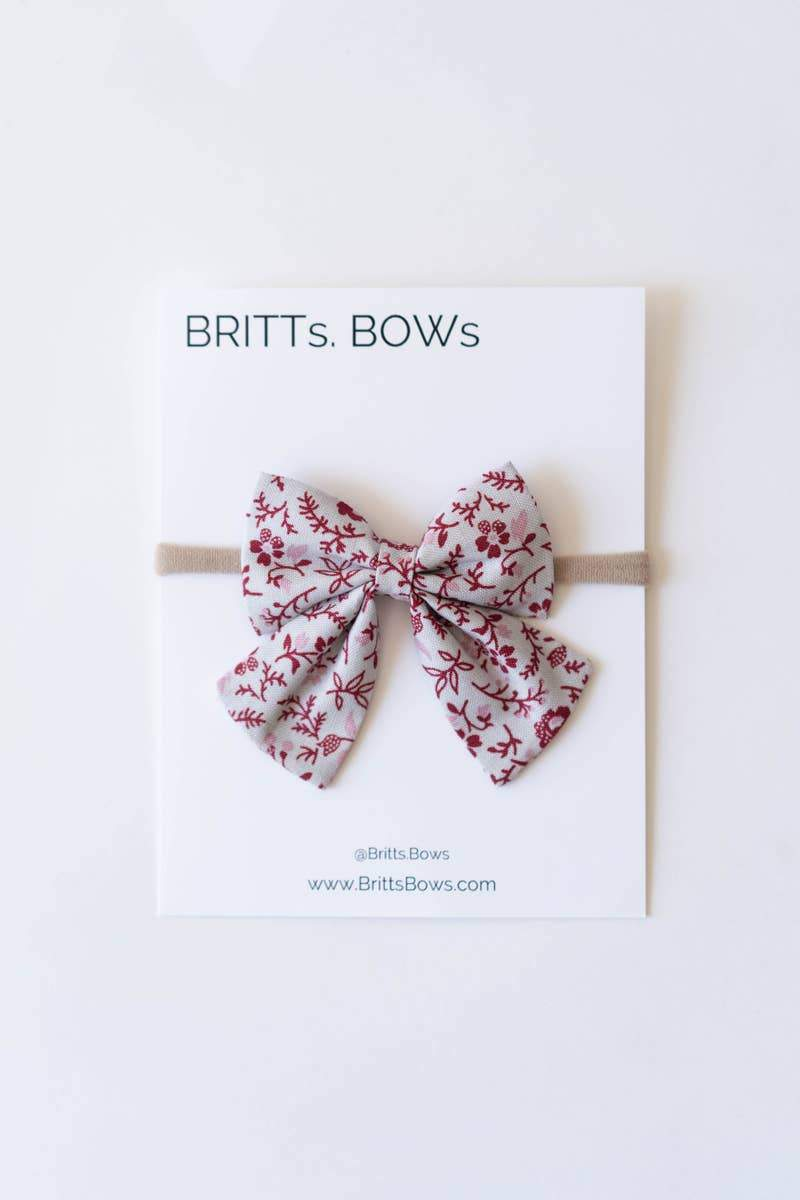 Gray and Purple Floral Sailor Bow Headband - Little Red Barn Door