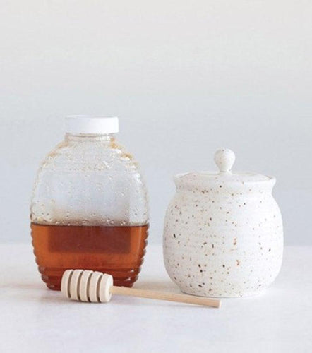 Honey Jar with Dipper - Speckle - Little Red Barn Door