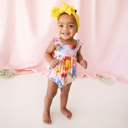 KAILEIGH - Basic Ruffled Capsleeve Bubble Romper - Little Red Barn Door
