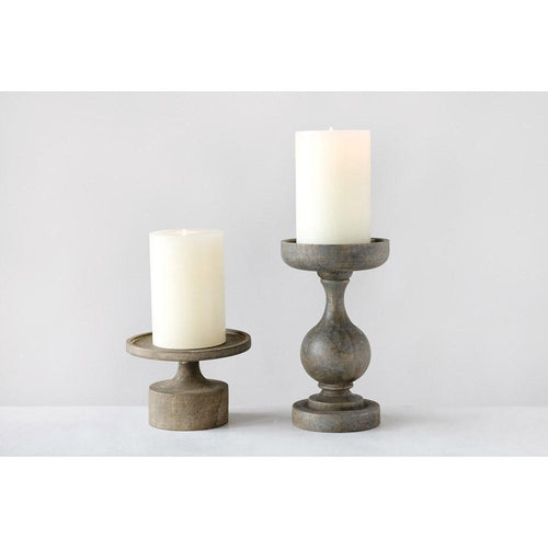 Mango Wood Candle Pillar (10