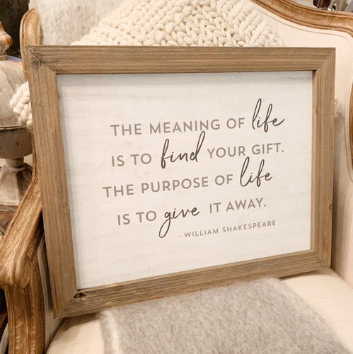 Meaning of Life Sign - Little Red Barn Door