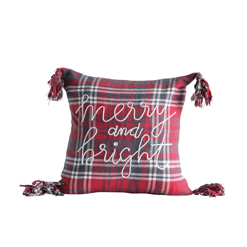 Merry and Bright Tassel Pillow - Little Red Barn Door