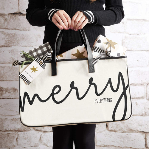 Merry Everything - Canvas Tote - Little Red Barn Door