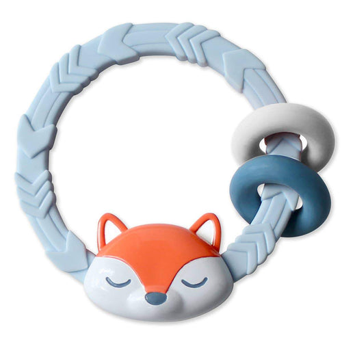 Non-Toxic Silicone Teether Rattle - Fox - Little Red Barn Door