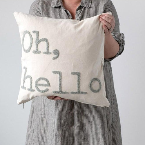 Oh Hello Cotton Pillow - Little Red Barn Door