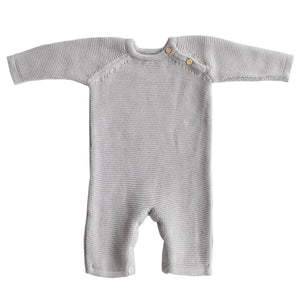 Organic Cotton Classic Knit Baby Romper - Gray - Little Red Barn Door
