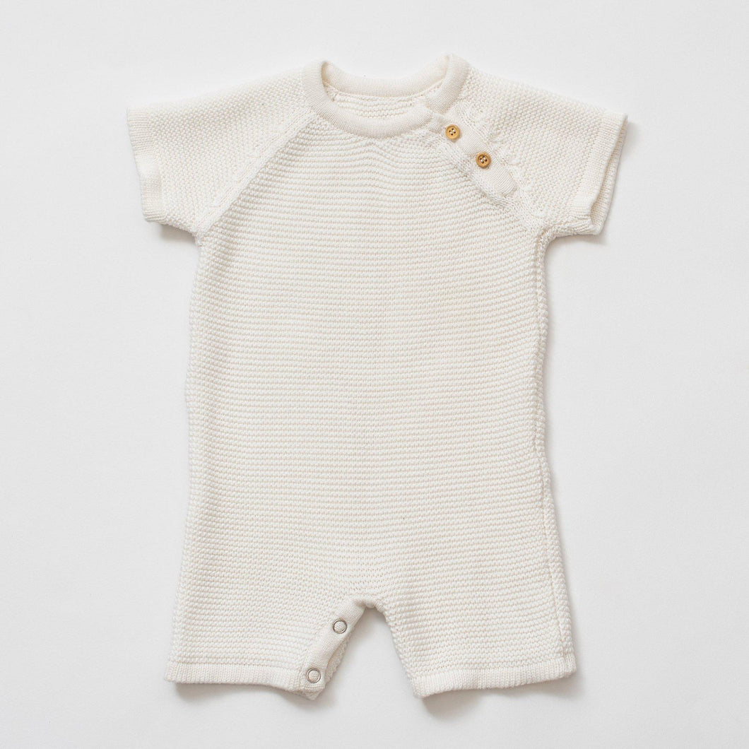 Organic Cotton Classic Knit Short Baby Romper - White - Little Red Barn Door