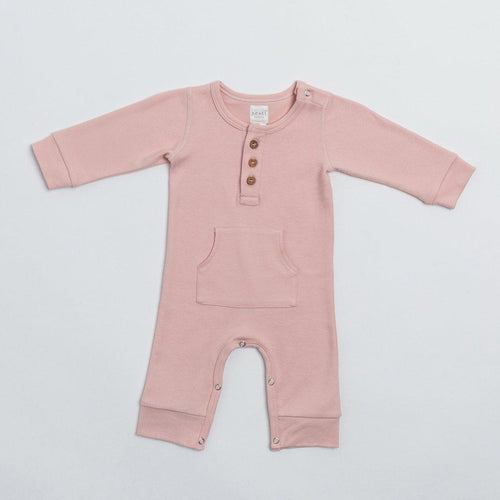 Organic Cotton Everyday Long Baby Romper - Blush - Little Red Barn Door