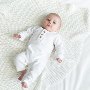 Organic Cotton Everyday Long Baby Romper - White - Little Red Barn Door