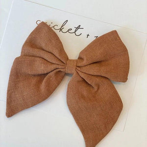 Oversized Linen Bow Clip - Caramel - Little Red Barn Door