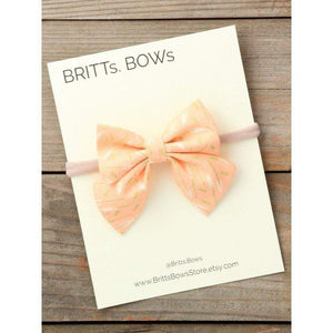 Peach Floral Bow Headband - Little Red Barn Door