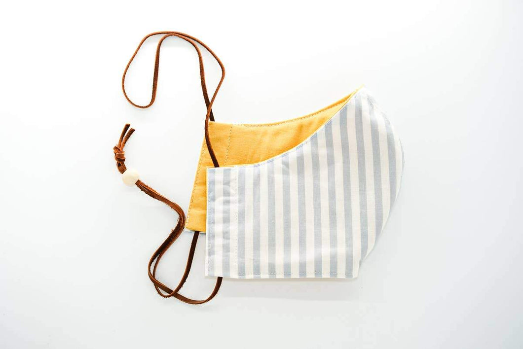 Reusable Adjustable Face Mask - Adult - Blue/White & Yellow - Little Red Barn Door