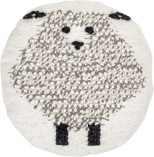 Round Wool Pillow with Sheep - Little Red Barn Door