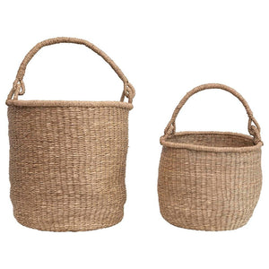 Seagrass Basket w/ Handle (2 sizes) - Little Red Barn Door