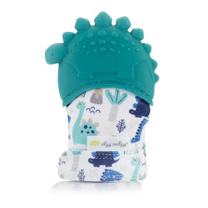 Silicone Teething Mitt - Teal Dino - Little Red Barn Door
