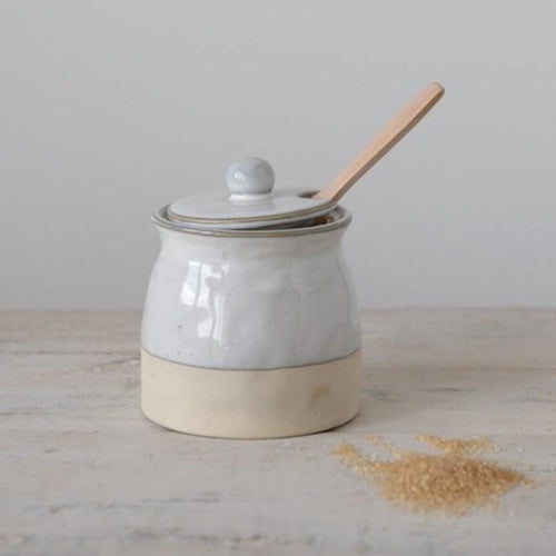 Stoneware Sugar Pot with Lid & Wood Spoon - Little Red Barn Door