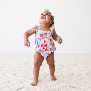 Strawberry - Basic Ruffled Capsleeve Bubble Romper - Little Red Barn Door
