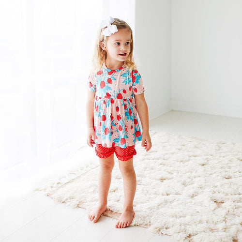 Strawberry - Basic Short Sleeve Peplum Top & Ruffled Short - Little Red Barn Door