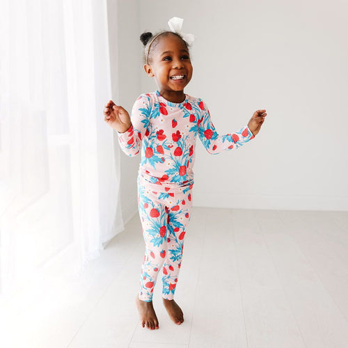 Strawberry - Long Sleeve Basic Pajamas - Little Red Barn Door