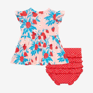 Strawberry - Ruffled Capsleeve Basic Peplum Top & Bloomer Set - Little Red Barn Door