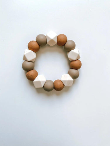 Teether - Camel, Mocha & Ivory - Little Red Barn Door